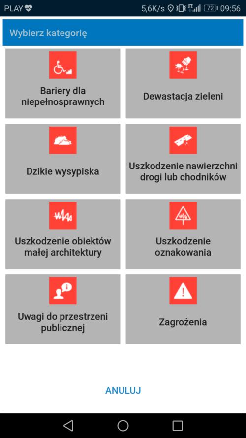 aplikacja mobilna – zgłoszenia publiczne