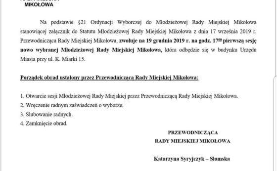 Pierwsza sesja Młodzieżowej Rady Miejskiej Mikołowa